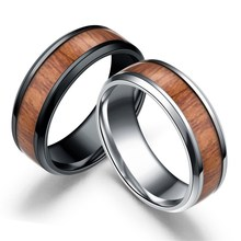 Stainless steel wood grain engagement ring inlaid wooden couples for Women Men jewelry fashion lover