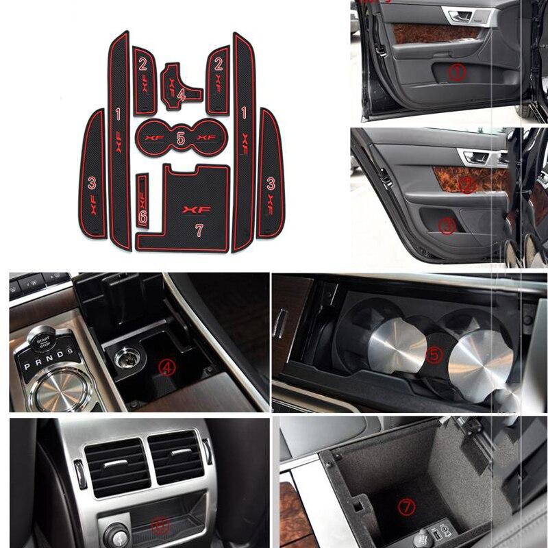 lowest price For Jaguar XF 2011-2015 Car Gate Slot Pad Rubber Anti-slip Door Pad Auto Cup Holder Mat Car Interior Accessories 10Pcs