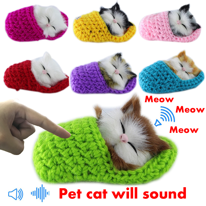 Cute Pet Cat Soft Plush Toys with Sound Animal Cat Doll Lifelike Simulation Sound Kids Girls Xmas Gift Children Toys Birthday simulation plush sleeping cat with sound lovely lifelike stuffed animal pet doll toy for children birthday gift decoration toy