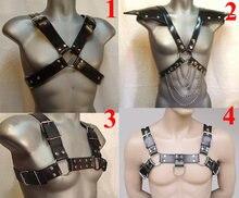 Masculino couro h bulldog peito arnês, 4 correias traje sexy, bdsm bondage sexo brinquedos para homem