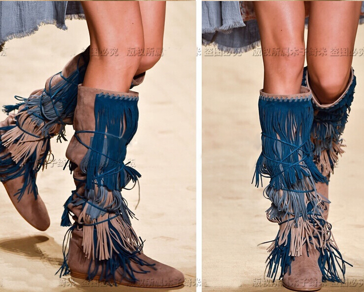 Aliexpress.com : Buy Street Style suede lace up knee high fringe ...