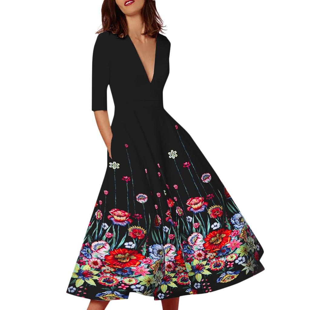Women Floral Print Vintage   Dress   Sexy Deep V Half Sleeve A Line   Prom   party Long   dresses   plus size 3XL Retro Swing Vestidos