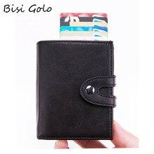 BISI GORO PU Leather Credit Card Holder Fashion Men Women Multifunctional Metal RFID Aluminium Box Travel Wallet