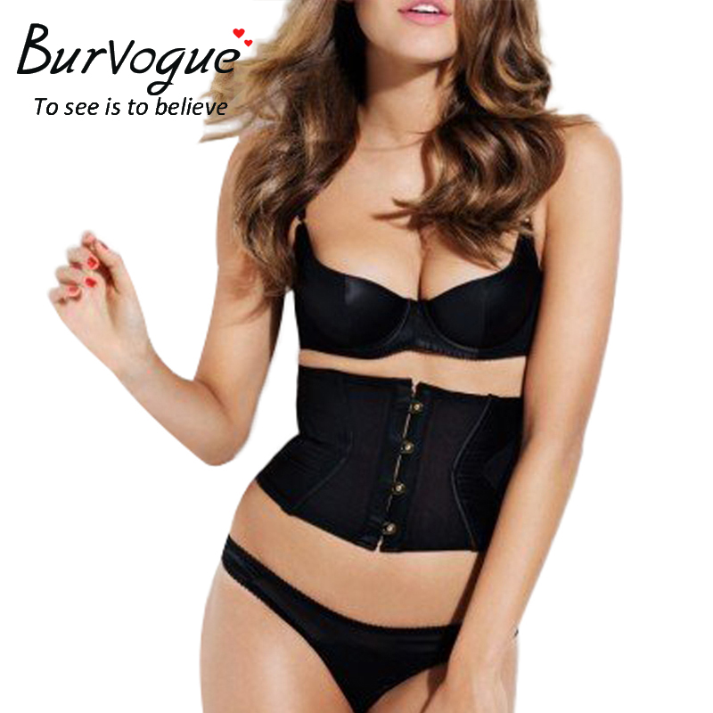 Burvogue New Satin Waist Trainer   Corset   Slimming Shaper Belt Belt With Back 3 hook & eyes Sexy   Bustiers   and   Corsets   for Women