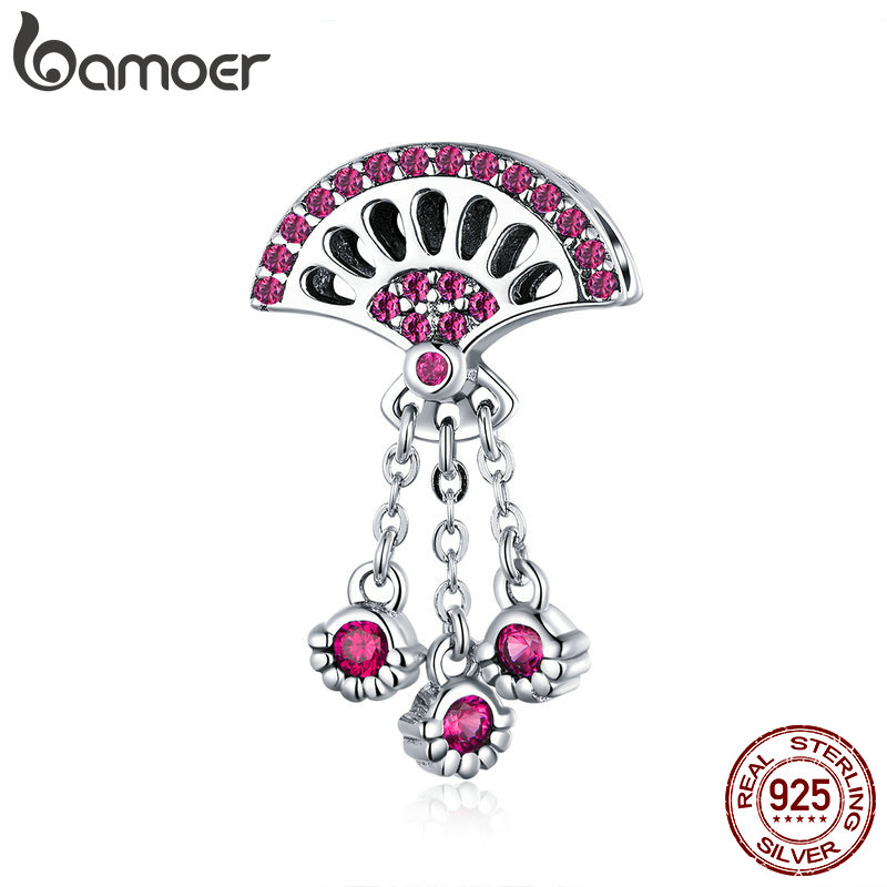 BAMOER Vintage New 925 Sterling Silver Fan Shape Pink Cubic Zircon Charms Pendant fit Charms Bracelets Bangles Jewelry SCC1070BAMOER Vintage New 925 Sterling Silver Fan Shape Pink Cubic Zircon Charms Pendant fit Charms Bracelets Bangles Jewelry SCC1070
