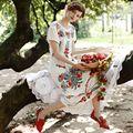 LYNETTE CHINOISERIE 2016 Verano Diseño Original Mujeres de la Alta Calidad de La Vendimia Estilo Mexicano Bordado Blanco Miel Vestido de Algodón