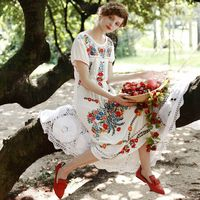LYNETTE'S CHINOISERIE 2016 Summer Original Design Women High Quality Vintage Mexican Style Embroidered White Honey Cotton Dress