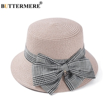 BUTTERMERE Women Summer Hats Beach Straw Sun Hat Ladies Pink Plaid Bowknot UV Cap Fashion Female British Bucket And Caps