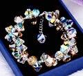 Brand new pure hecho a mano de Lujo 925 de cristal Austriaco elegante pulseras y brazaletes del encanto de La Muchacha regalo de jewelery