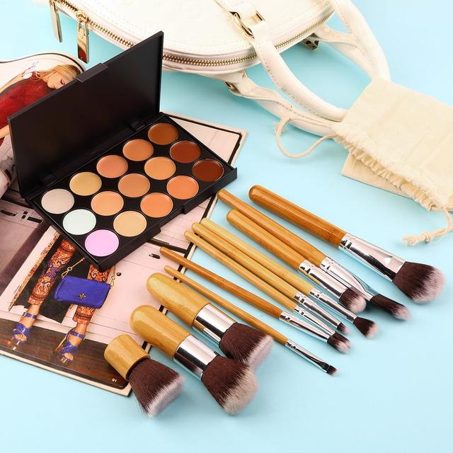 New 15 Colors Contour Face Cream Camouflage Makeup Concealer Palette + 11PCS Bamboo Handle Powder Brush Make Up Brushes