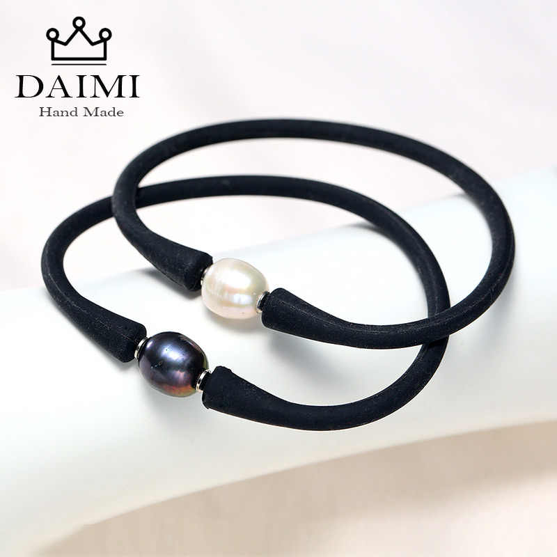 DAIMI Rice Pearl One Pearl Bracelet Unisex Silicon Rubber Stainless Steel Post More Color Waterproof Silicone Wholesale Price