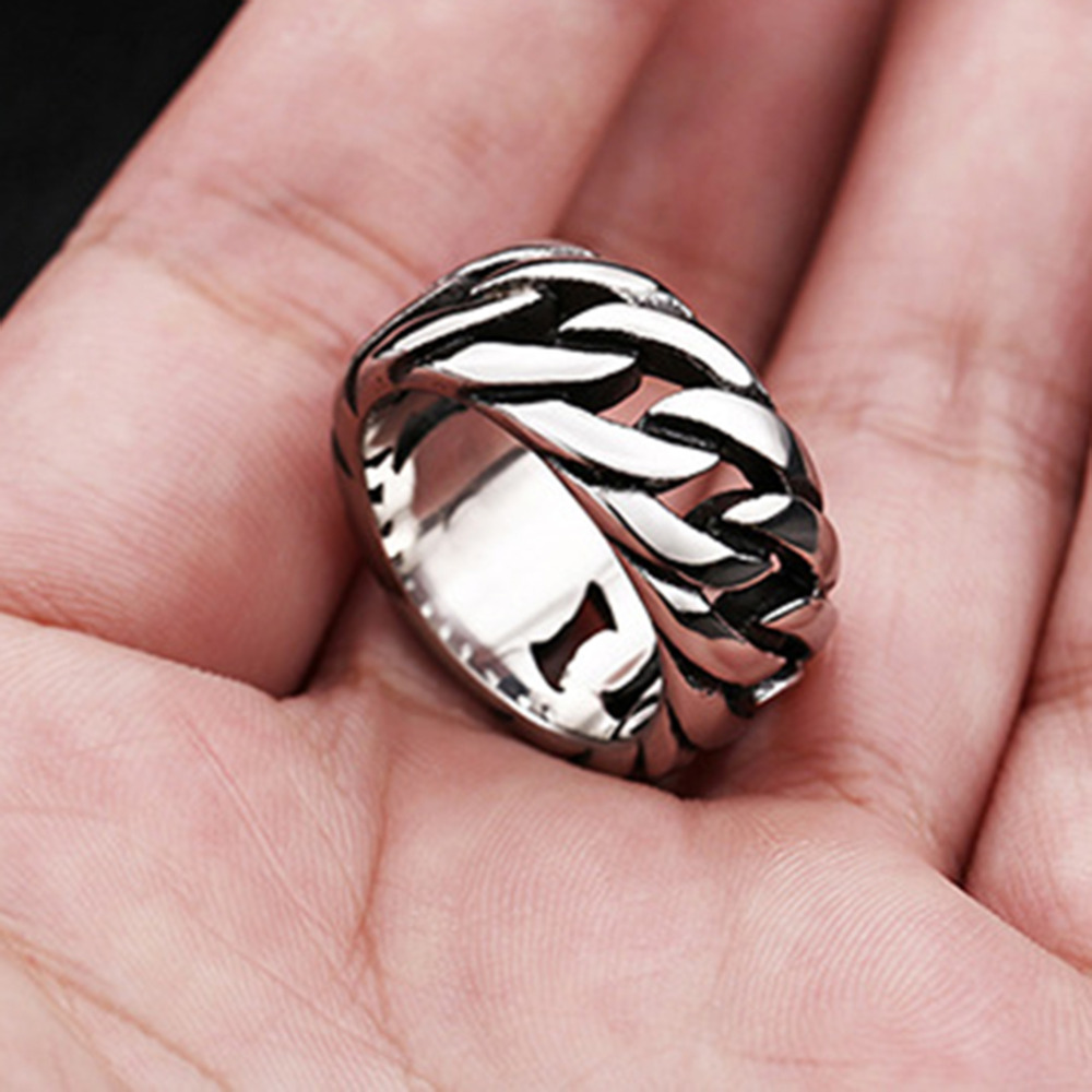Stainless Steel with Rope Punk Ring Big Size rings Retro Vintage ...