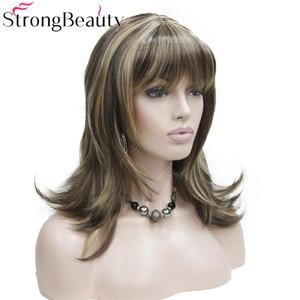 Image 2 - StrongBeauty ילדה סינטטי טבעי גל ארוך שיער אדום חום קוספליי פאות לנשים 5 צבעים