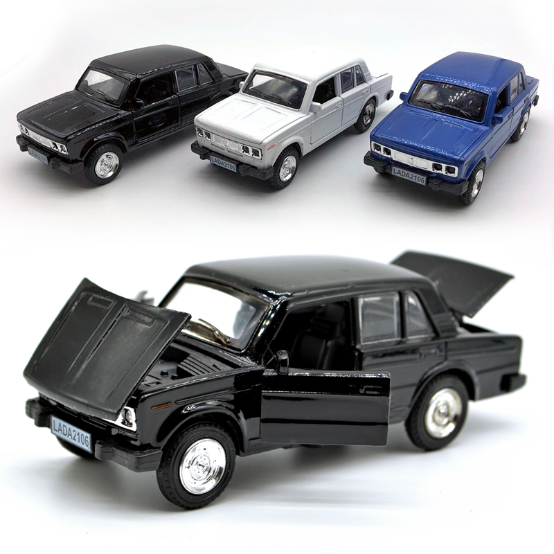 Lada 2106 Model Car 1: 36 Scale  Diecast Car, Alloy Vehicle Toys For Kids Boys, Metal Model With Openable Door/Sound/Light/Pull