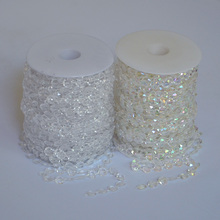 10mm 10m Iridescent Octagonal Acrylic Beads Strand Line Chain Wedding Party Diamond Crystal Garland Decors Rhinestone Curtain