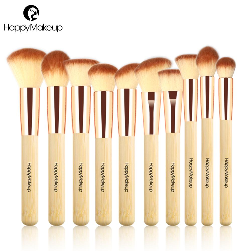 Happy Makeup Brushes Set Professional 10pcs Face Powder Blush Foundation Contour Make Up Brushes Kit Natural Bamboo Quality top quality 20pcs bamboo makeup brushes