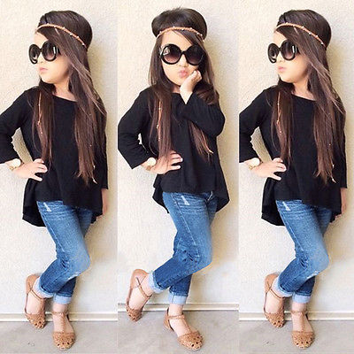 e5837ca2db31 2017 2PCS Outfit Children Suit Fashion Toddler Kids Clothing Set Baby Girls  Solid Black Long T-shirt Tops + Jean Denim Pant