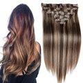 7A Brasileiro grampo em extensões do cabelo grampo em Linha Reta humano extensões do cabelo 160g Grampo Em Remy Extensões de Cabelo Humano completo cabeça