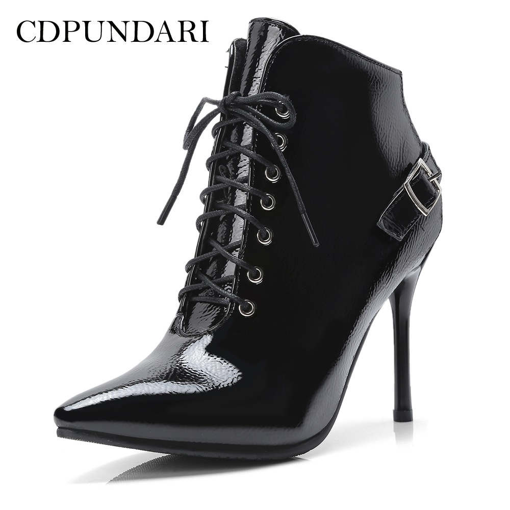 CDPUNDARI Cross Lace Up Ankle boots for women High heel boots Ladies Winter boots shoes woman CDPUNDARI Cross Lace Up Ankle boots for women High heel boots Ladies Winter boots shoes woman