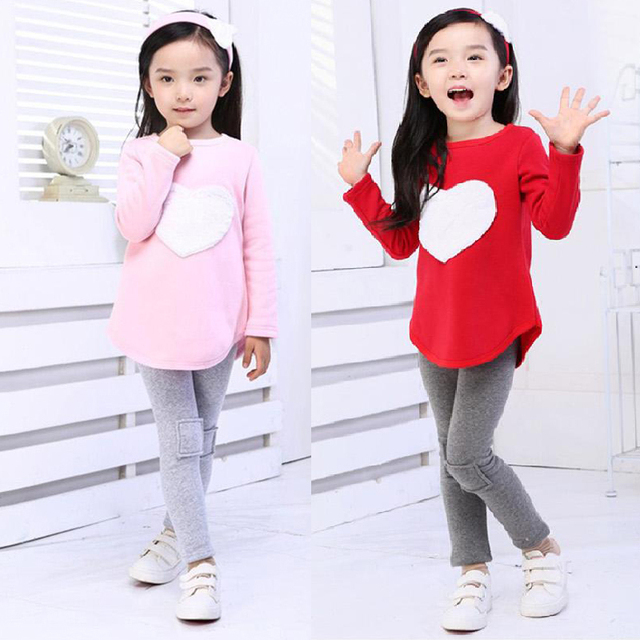 b5ddddad9 Children Clothing Set Heart Shirts Leggings Headband 3pcs Kids Clothes for Girls  Casual Cotton Spring Autumn Toddler Girls Suits