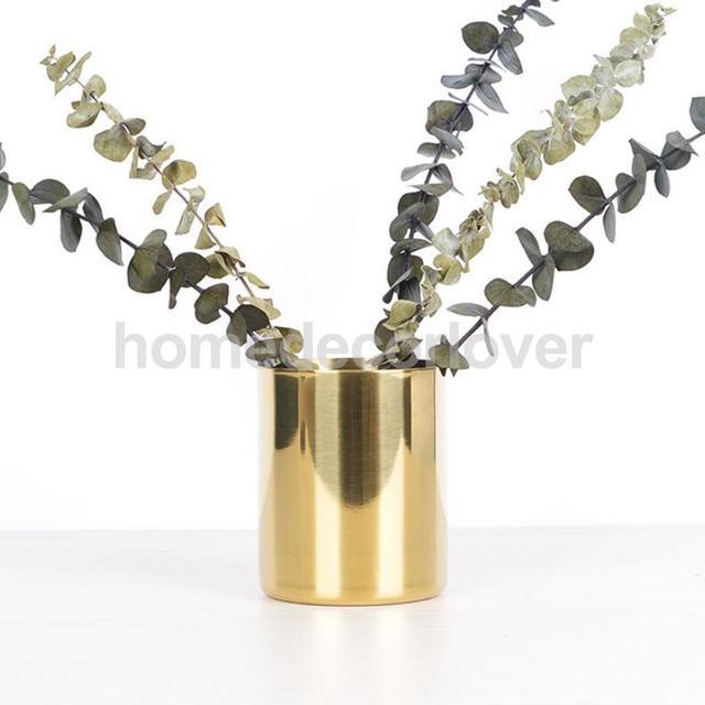 225 & US $13.68 18% OFF|Gold Brass Flower Vase Pen Holder Desktop Storage Container Tube Ornament Cylinder / Hexagon -in Vases from Home \u0026 Garden on ...