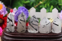 5PCS  108 grams of natural quartz crystal black hair healing magic wand point A2