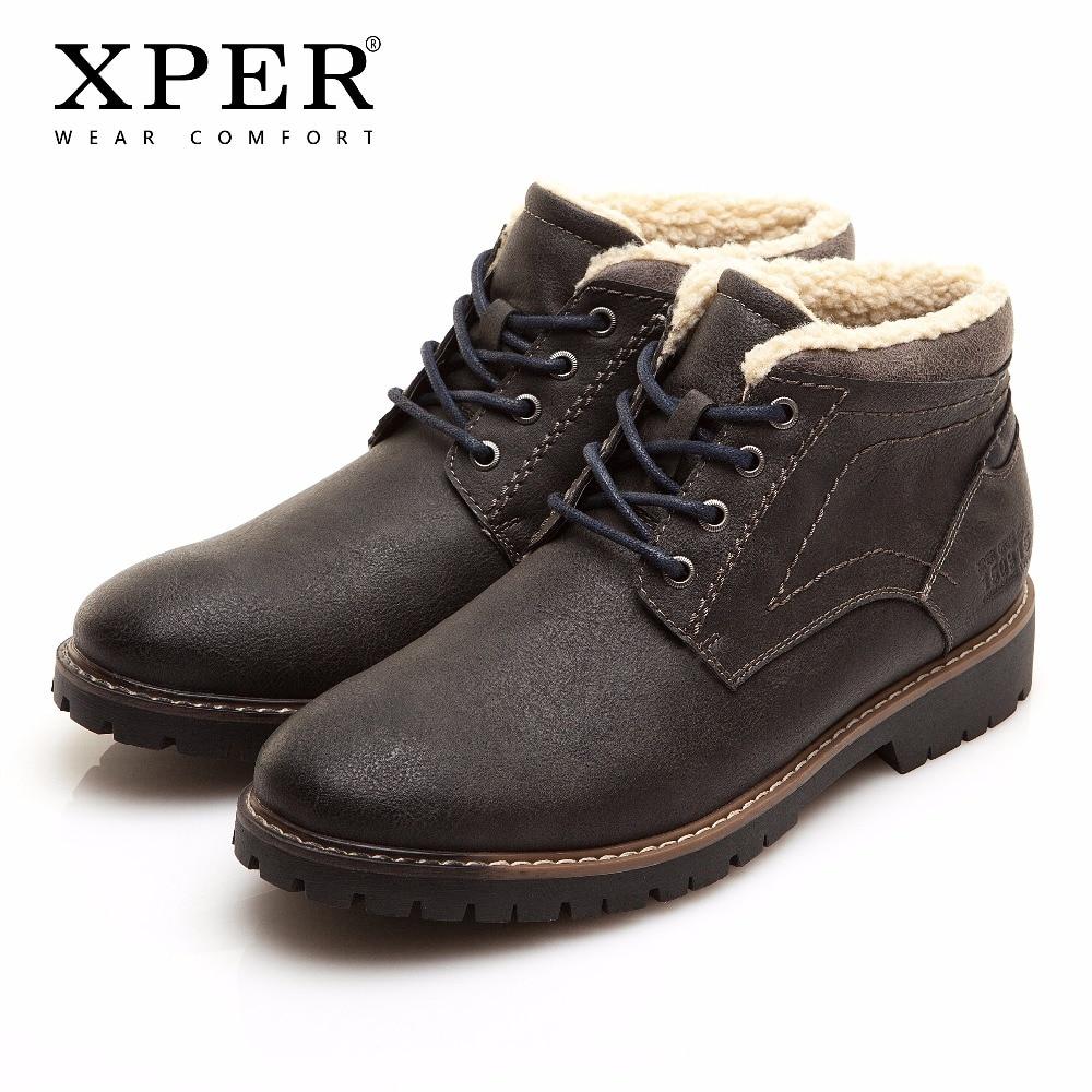 Большой размер 41-46 Мужские зимние сапоги теплые удобные рабочие Детская безопасность мотоциклетные Ретро зимние Мужская обувь xper # xhy11202bl