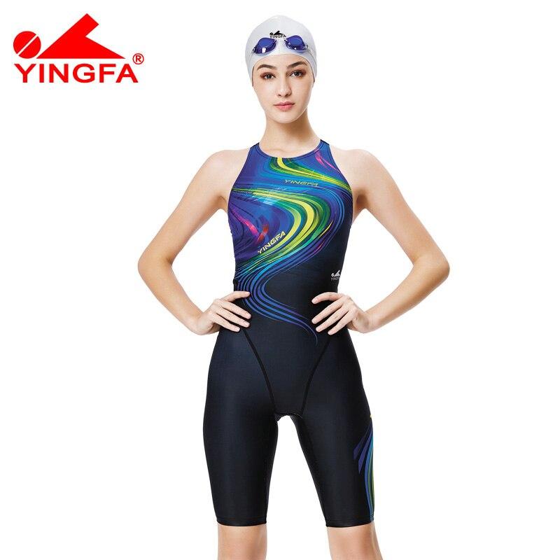 Yingfa 2017 new competition knee length waterproof chlorine low resistance women's swimwear girls training  racing swimsuit competition racing one piece swimsuit
