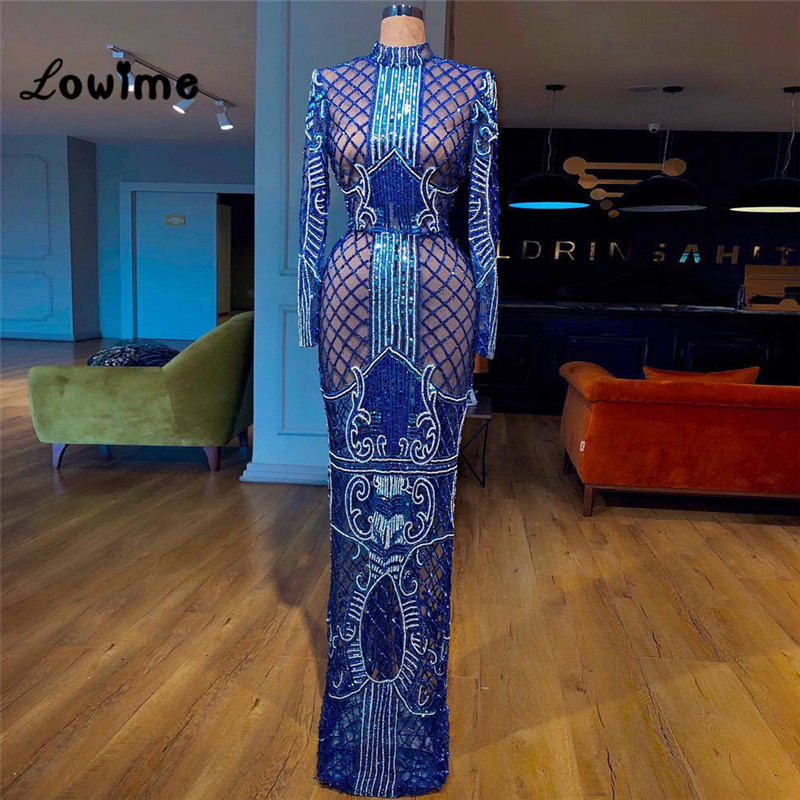 Royal Blue Long Sleeves Women   Evening     Dresses   Arabic African Party Gown 2018 Robe De Soiree Couture Special Fabric Dubai   Dresses
