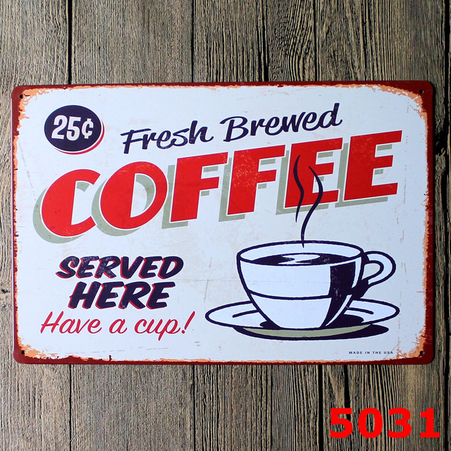 Plaque Metal Tin Signs Vintage Decorative Coffee Plates Cafe Menu & Coffee Decor Plates - Techieblogie.info