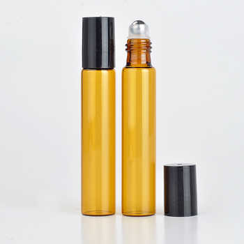Wholesale 100Pieces/Lot 10 ML Roll On Portable Amber Glass Refillable Perfume Bottle Empty Essential Oil Case With Plastic Cap - DISCOUNT ITEM  10% OFF All Category
