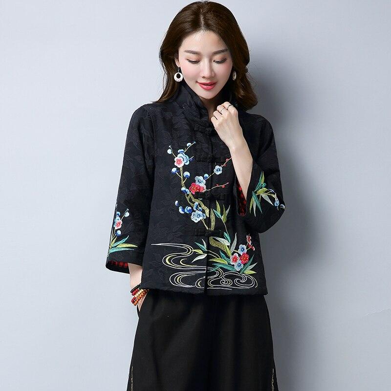 Manteau Black Rouge Veste Ethnique 2017 Femmes Nouveau Vintage Chinois Style red Court Manteaux Broderie 7xCpI