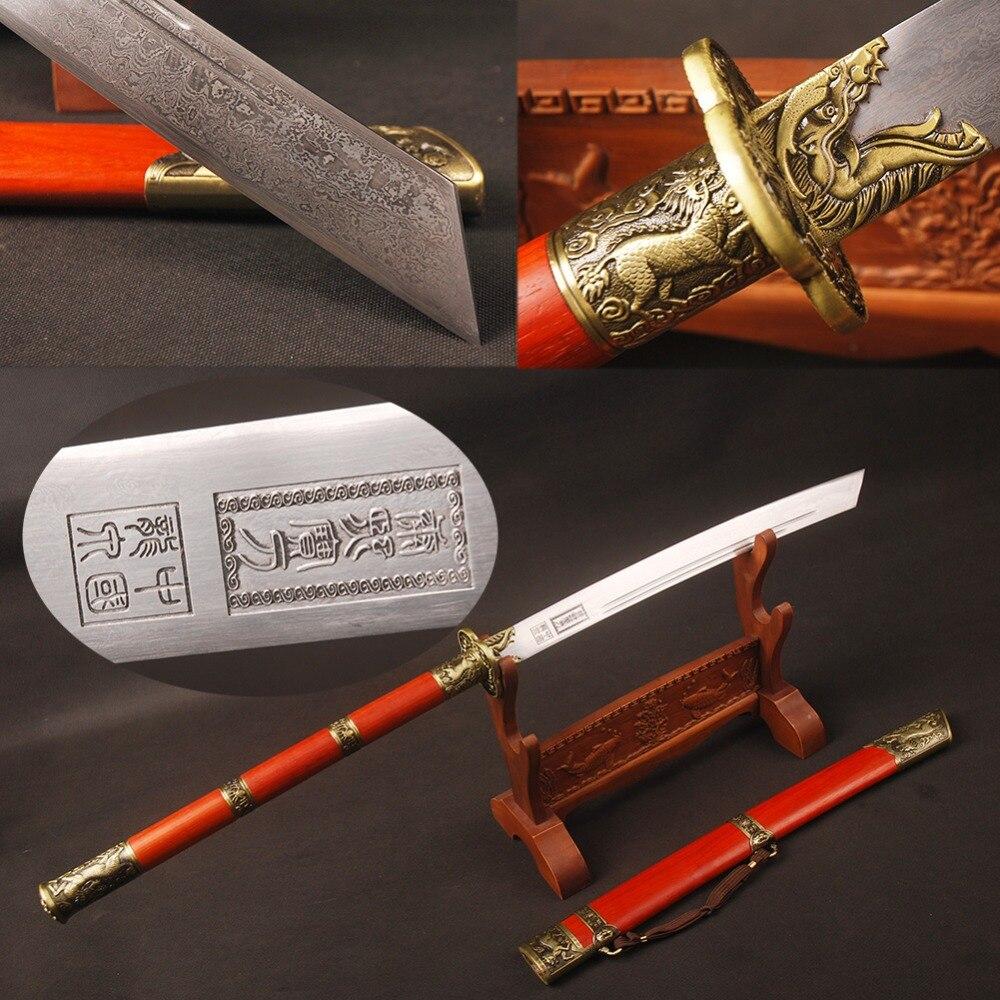 Винтаж Китайский Меч полностью ручной работы Цин династии Канси сабля меч 45 см ручка King's Ножи Винтаж дома украшения из металла