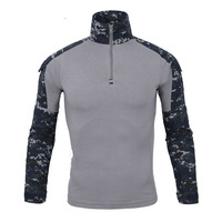 Mortonpart Mens Army Camo Long Sleeve Quick Dry T shirts Tactical Combat Sports Anti Uv 1/4 Zip Pullover Outdoor Hiking T Shirt