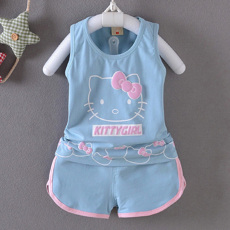 SexeMara Baby Girls Summer Hello Kitty Suits Baby Kids 2Pcs Sets T-Shirt+shorts Cute Kt Cat Kids Clothing Set New For 0-3Y Girl kids girls clothes sets new 2016 children s winter clothing sets hello kitty cat fashion pajamas baby girls clothing set ks225