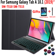 Backlit Keyboard Case for Samsung Galaxy Tab A 10.1 2019 T510 T515 SM-T510 SM-T515 Tablet Leather Cover Funda Bluetooth Keyboard все цены