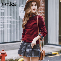 Artka 2018 Aurumn&Winter Vintage All Match Hollow Out Elegant Casual Knitwear Pullover Sweater YB13063Q