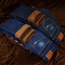 2018 Autumn and Winter Fashion New Men's Casual Boutique Thick Warm Jeans Men's Slim Wool Velvet Denim Trousers Cotton Hip Hop L