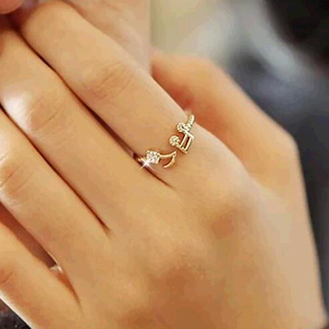FAMSHIN 2016 New Cute Musical Note Openings Adjustable Rhinestone Midi Rings for