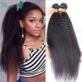 Coarse Yaki Human Hair Weaves 7A Brazilian Virgin Hair Kinky Straight 2 Pcs Mink Brazilian Yaki Straight Hair Weave Bundles