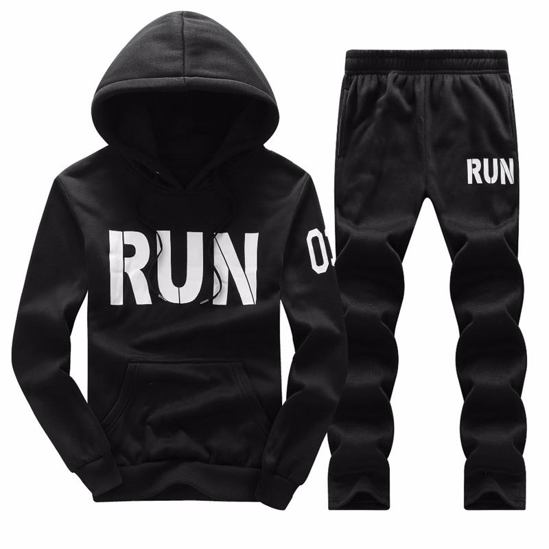 Sweatshirt Men Sportswear Set 2018 Tracksuit Spring Summer Set Leisure Men's Hoodie Pants Two Piece Set Size M-4XL Wholesale (1)
