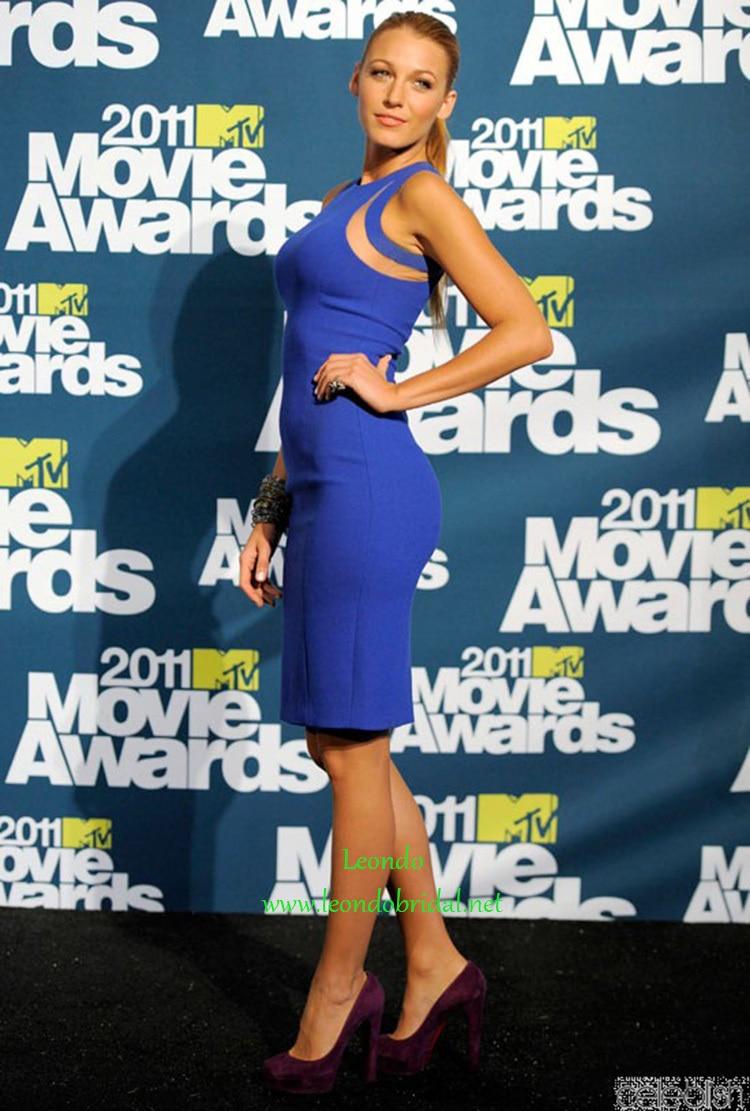 Blake Lively Sky Blue Cocktail Dress at 2011 MTV Movie Awards Press ...