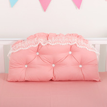 Baby Girls Bed Backrest Bumper Lace Cotton Baby Bedside Cushion Pillow Crib Protector Pillow Baby Room Bedroom Decoration xisayababy nordic style baby bed bumper colorful baby pillow cushion baby bedding crib protector baby room decoration 200cm