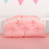 Baby Girls Bed Backrest Bumper Lace Cotton Baby Bedside Cushion Pillow Crib Protector Pillow Baby Room Bedroom Decoration