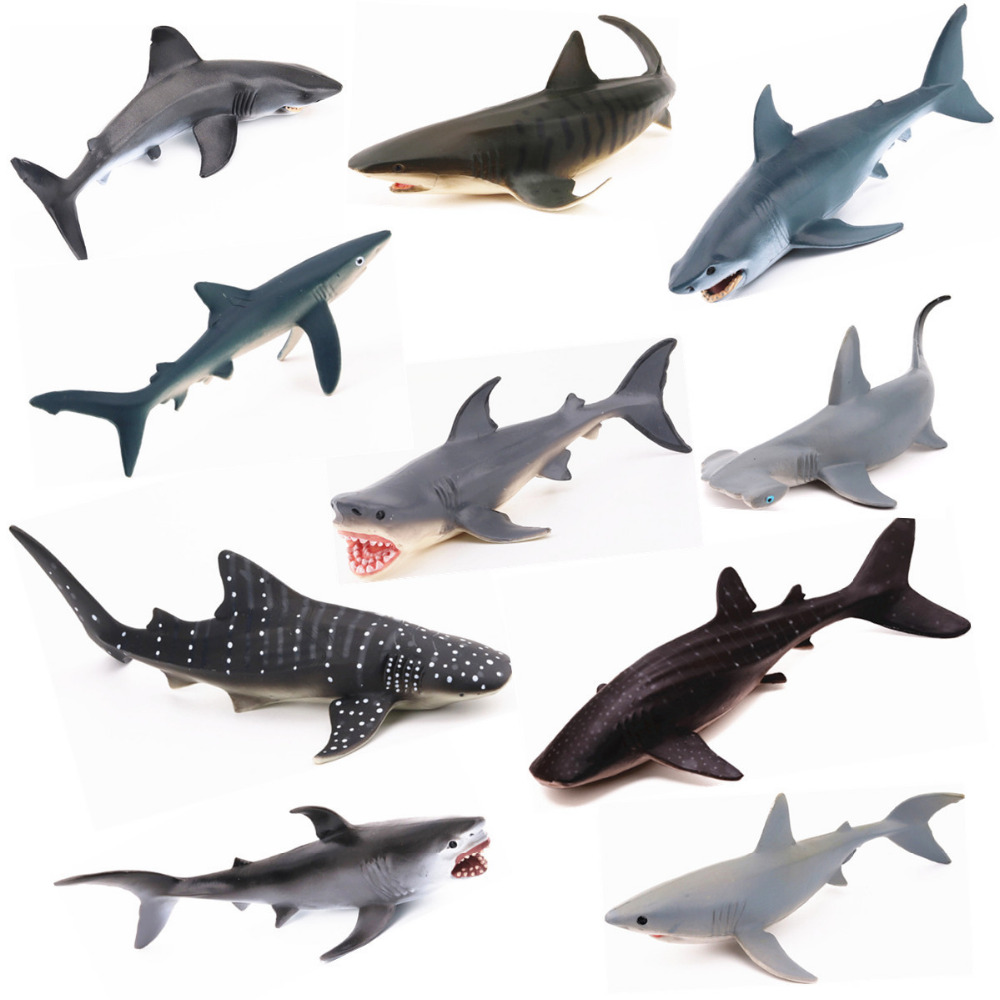 REikirc 10PCS/Set Plastic Shark Figures Sea Marine Animal Ocean Creatures Fish Miniature Simulation Model Kids Toy hot toys great white shark simulation model marine animals sea animal kids gift educational props carcharodon carcharias jaws