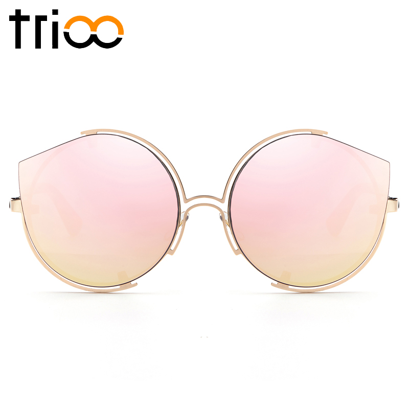 TRIOO Pink Mirror Women Sunglasses Special Cat Eye Sun Glasses For Women Rimless New Trending Color Lens Shades Oculos