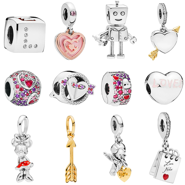 03f5cc255 2019 Valentine's Day Charms Fits Pandora Bracelets Bangles Charms Silver 925  Original Dangle Clip Bead with CZ DIY Jewelry Gift.-in Beads from Jewelry  ...