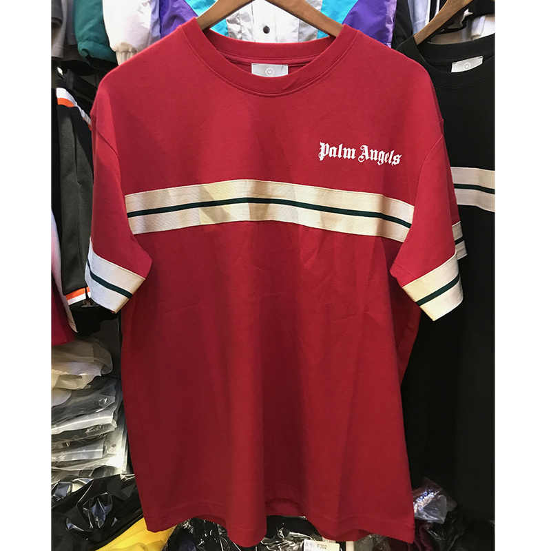 6fa85fd1526 ... Hip Hop Palm Angels Striped T Shirts Men Women Casual Black Green Red  Palm Angels T ...