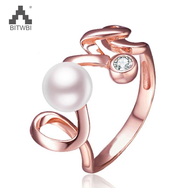 100% 925 Sterling Silber Liebe Brief Ring Für Frauen 6mm Natürliche Perle Schmuck Geschenk