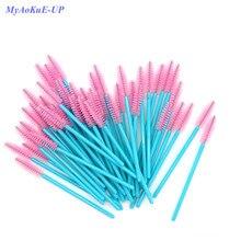 New Arrived Blue Handle Pink Brushes Nylon Disposable Mascara Wands Lashes